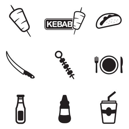 delicious food: Kebab Icons Illustration