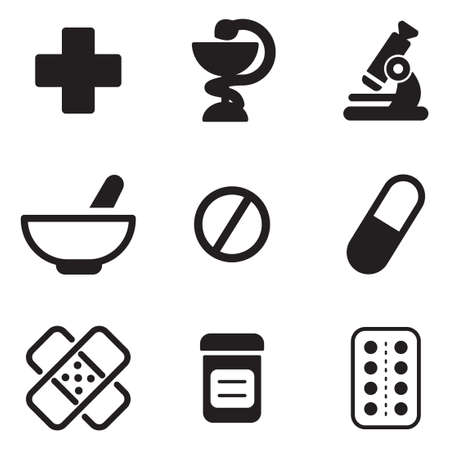 microscopio: Farmacia Iconos Vectores
