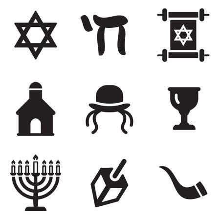 ten commandments: Judaism Icons Illustration