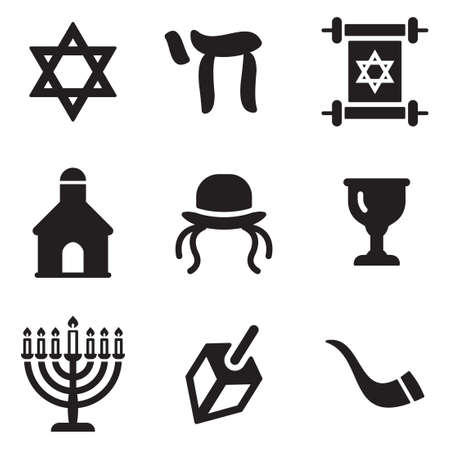 commandments: Judaism Icons Illustration