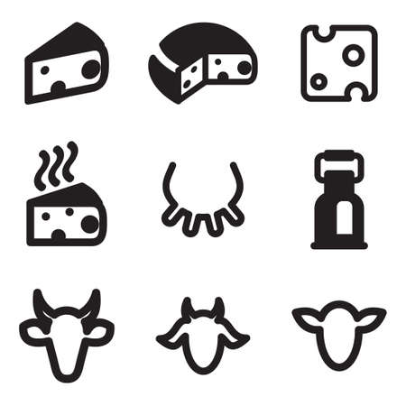 dairy cows: Cheese Icons Illustration
