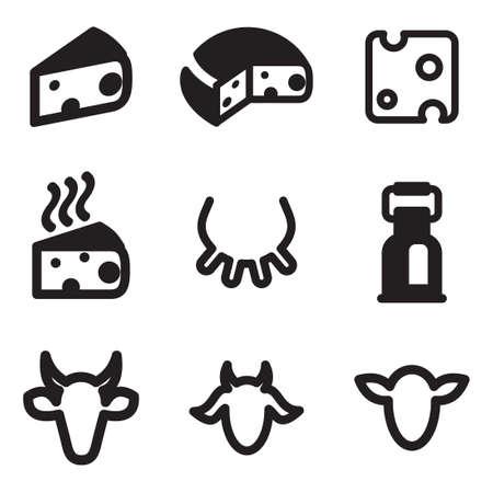 cabra: Iconos del queso Vectores