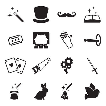 magician hat: Magic Icons Illustration