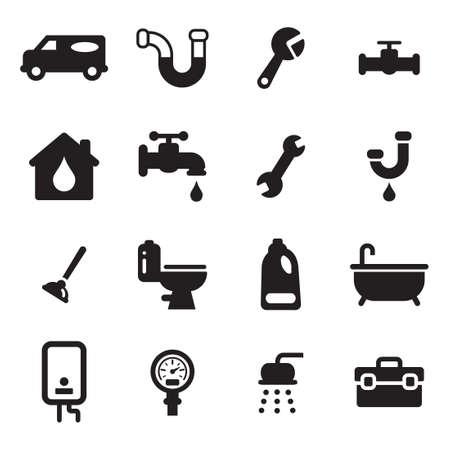 llave de agua: Plomería Iconos Vectores