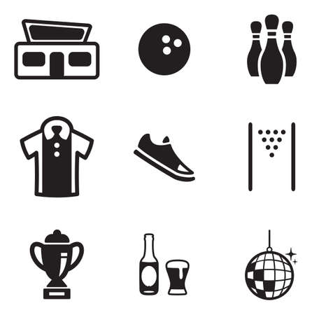 bowling strike: Bowling Icons Illustration