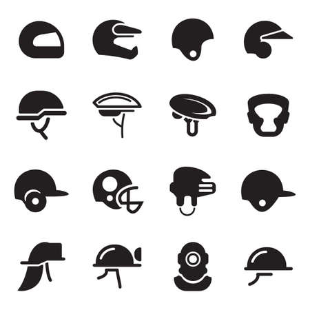 super cross: Helmet Icons Illustration