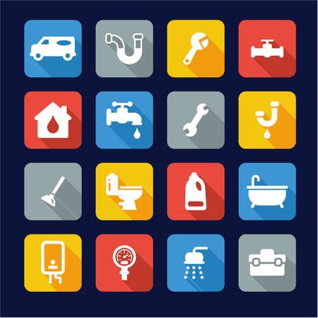 plumber: Fontanería iconos planos Diseño Vectores