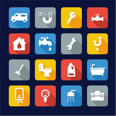 plumbing tools: Plumbing Icons Flat Design Illustration