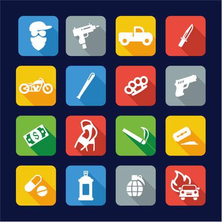 prostitution: Modern Gangster Icons Flat Design Illustration
