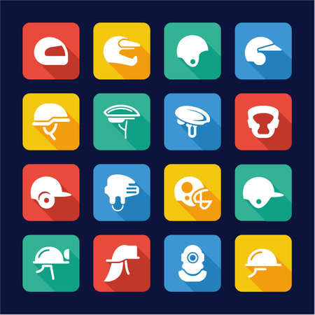 super cross: Helmet Icons Flat Design Illustration