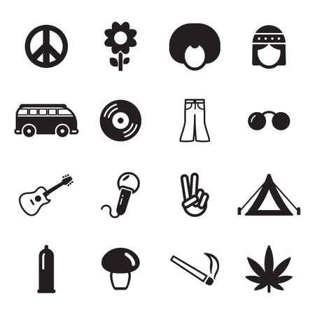 Hippie Icons Illustration