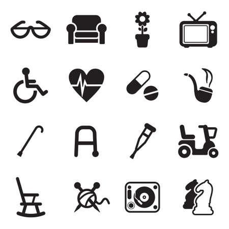 escúter: Personas mayores iconos Vectores
