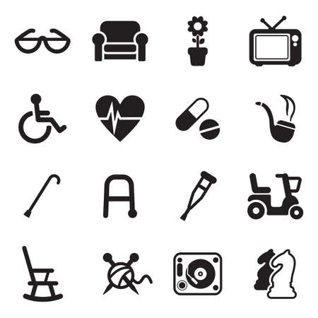 old person: Senior People Icons Illustration