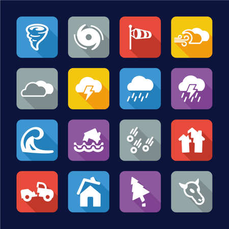 hale: Tornado Icons Flat Design Illustration