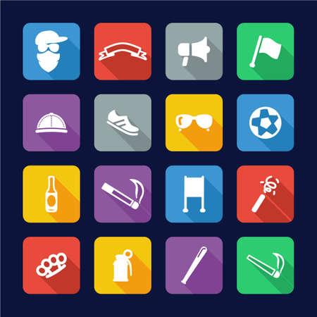 ultras: Ultras Icons Flat Design Illustration