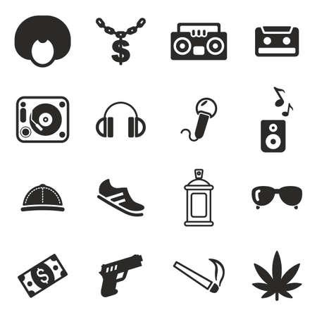 rapero: Hip Hop Iconos Vectores