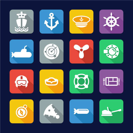 water carrier: Navy Icons Flat Design
