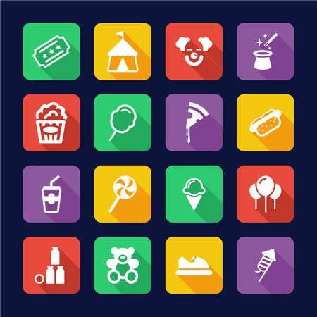 algodon de azucar: Feria de iconos planos del diseño Vectores