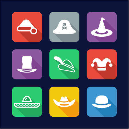 sexy army: Hat Icons. Flat Design Illustration