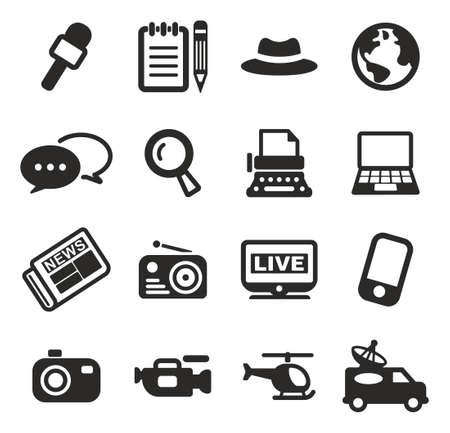 telephone interview: Journalist Or Reporter Icons Illustration