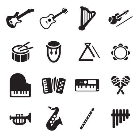 Musical Instruments Icons Vettoriali