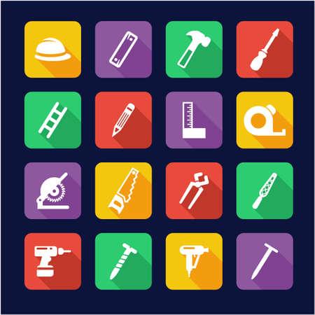 deep drilling: Carpenter Icons Flat Design Illustration