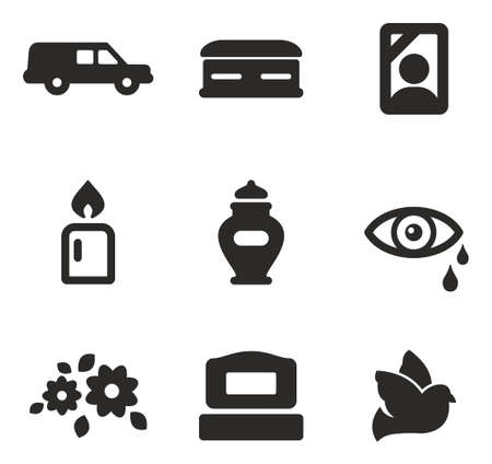 death: Funeral Icons Illustration
