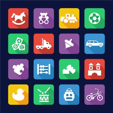 juguetes: Juguetes iconos planos Diseño Vectores