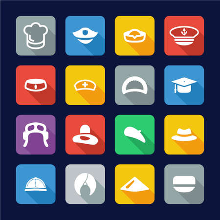 sexy army: Hat Icons Flat Design Set 1 Illustration