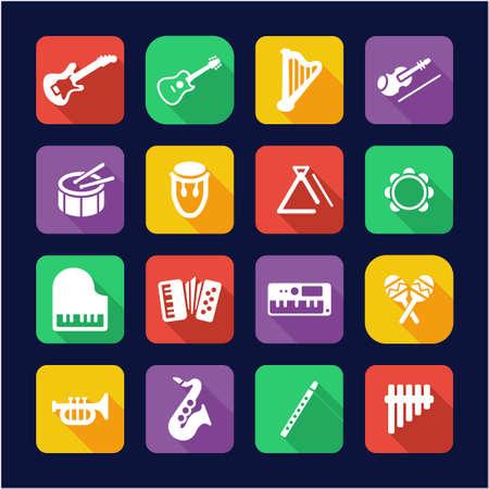 instruments de musique: Instruments de musique Ic�nes plat design