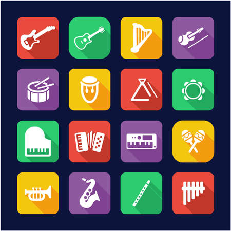 triangle musical instrument: Musical Instruments Icons Flat Design