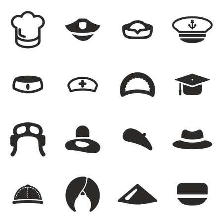 enfermera con cofia: Sombrero Icons Set 1 Vectores
