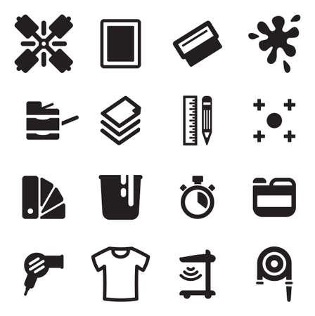 imprenta: Serigrafía Iconos Vectores