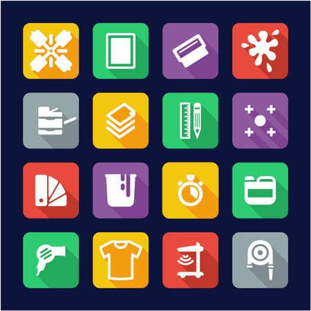 Screen Printing Icons Flat Design