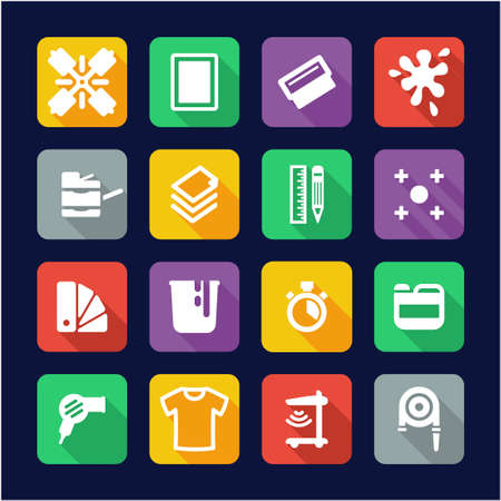 Screen Printing Icons Flat Design