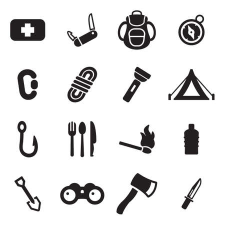 carabineer: Survival Kit Icons Illustration