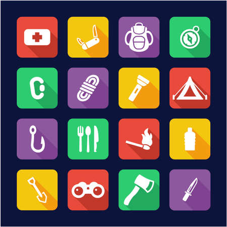carabineer: Survival Kit Icons Flat Design