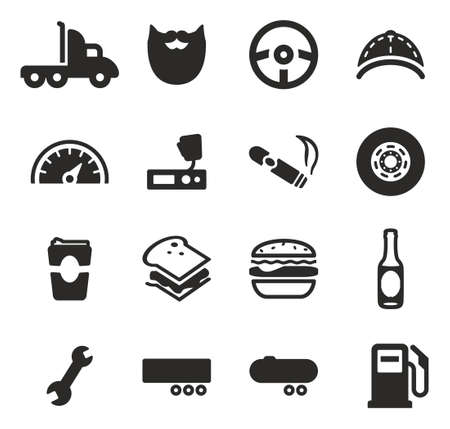 over sized: Truck Driver Icons Illustration