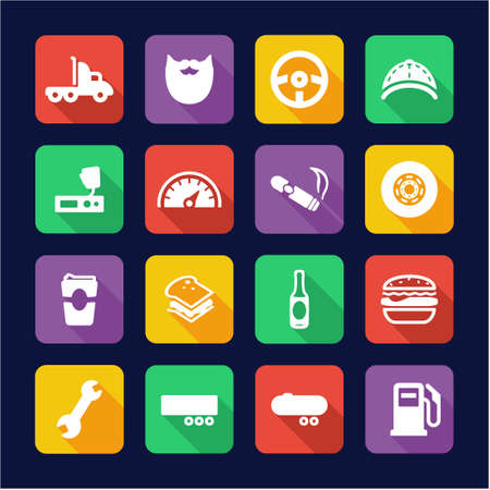 over sized: Truck Driver Icons Flat Design