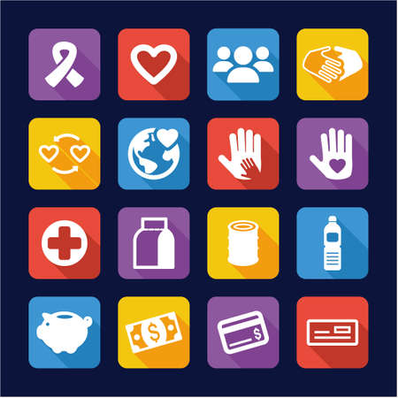 dolor: Charity Icons Flat Design