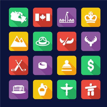 Canada Icons Flat Design Illustration