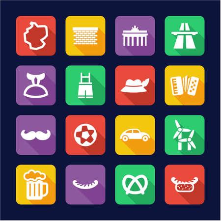 escarabajo: Alemania iconos planos Diseño Vectores