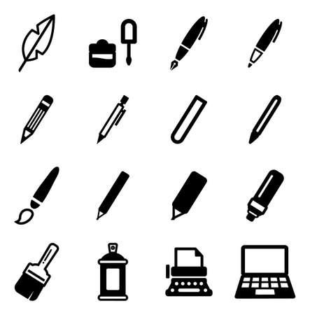 Icone degli strumenti di scrittura Archivio Fotografico - 47612766