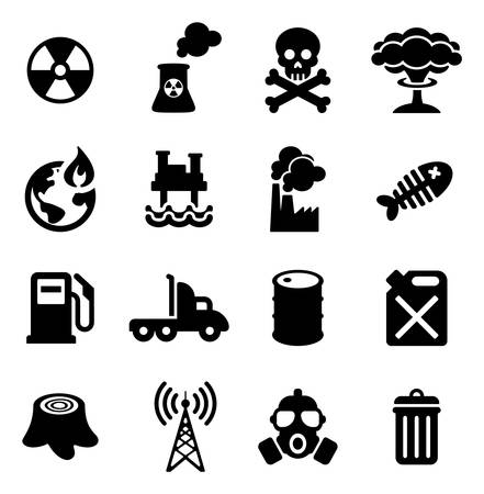 earth pollution: Pollution Icons