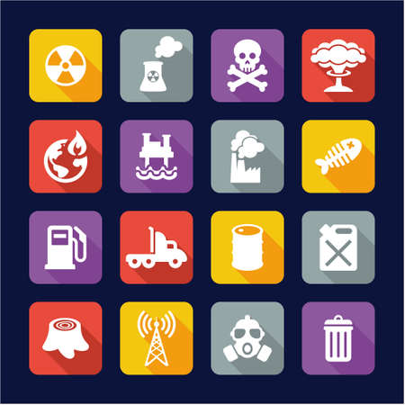 earth pollution: Pollution Icons Flat Design