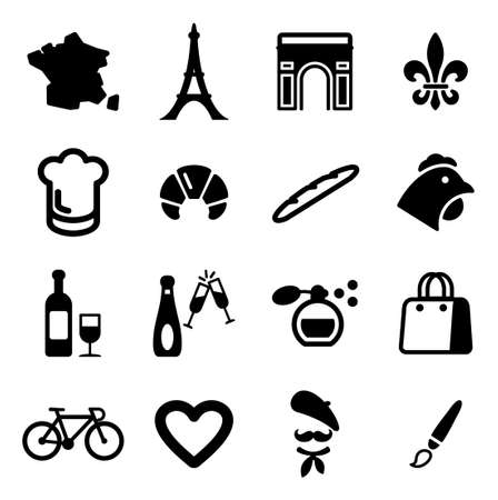 shopping champagne: France Icons Illustration