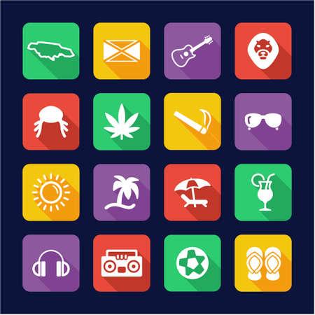 rasta hat: Jamaica Icons Flat Design Illustration