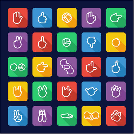 piss: Hand Signs Icons Flat Design Vettoriali