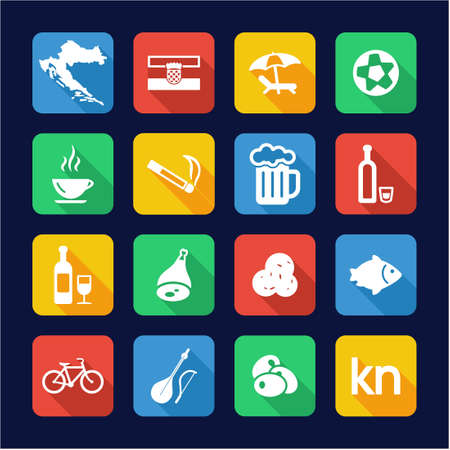 easy chair: Croatia Icons Flat Design