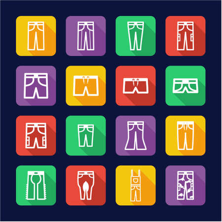 cargo pants: Pants Icons Flat Design Illustration